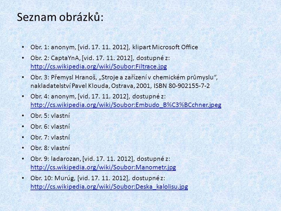 Seznam obrázků: Obr. 1: anonym, [vid. 17. 11. 2012], klipart Microsoft Office.